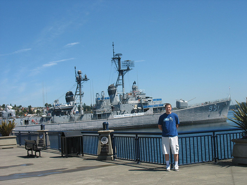 Ryan in front of Navy Ship